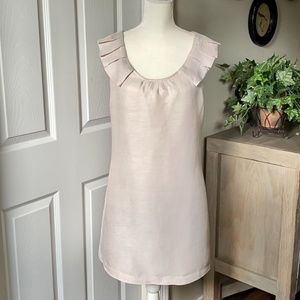 J. Crew Linen/Silk Pleated Sleeve Scoop Neck Dress